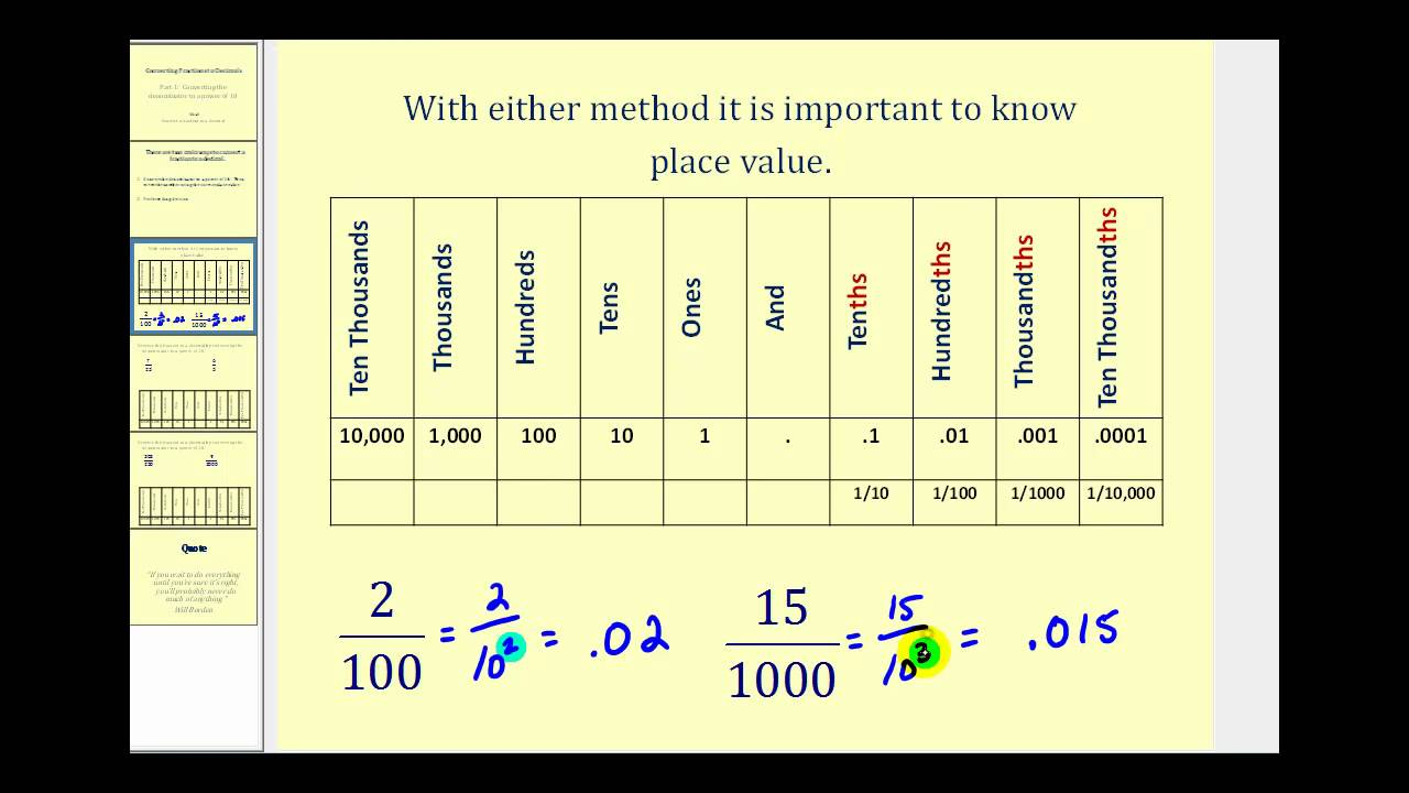 Converting a Fraction to a Decimal - Part 1 - YouTube