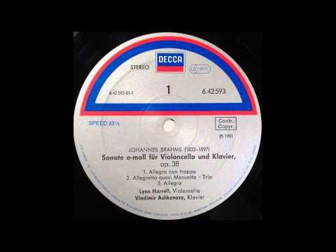brahms , cello sonata no 1, lynn harrel, celo and ashkanazy, piano