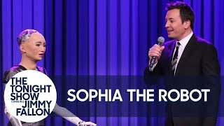 Sophia the Robot and Jimmy Sing a Duet of