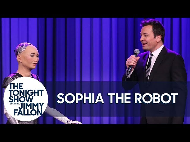 "Sophia the Robot and Jimmy Sing a Duet of ""Say Something"""