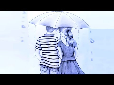 how-to-draw-couple-with-umbrella-||-romantic-couple-pencil-sketch---step-by-step.