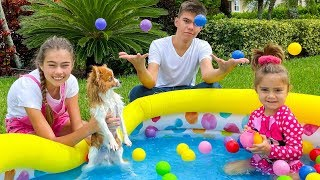 Mia Nastya y Artem bañan al cachorro Marty