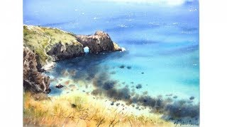 """Видео урок рисования акварелью """"Солнечный пейзаж. Морское дно"""" (Превью к уроку)"""