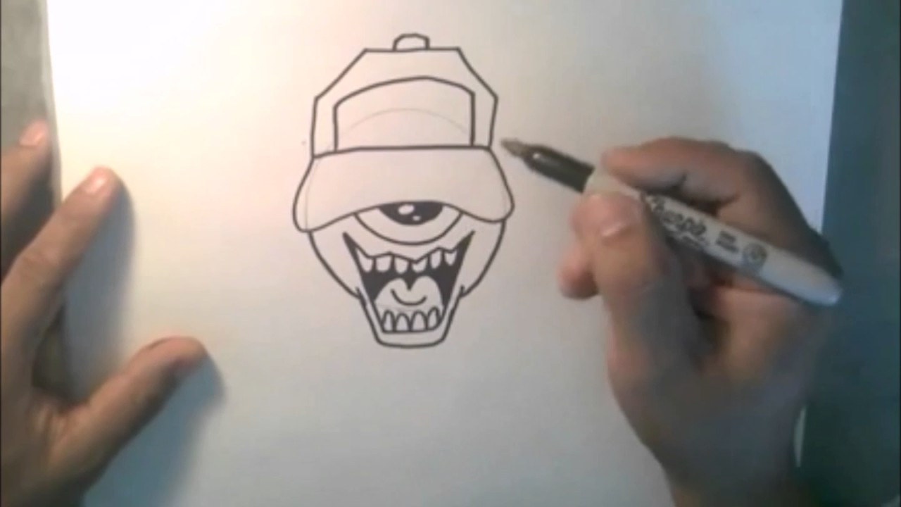 How to draw one eye graffiti character