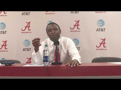 Coach Avery Johnson speaks to the media after their win over Rhode Island
