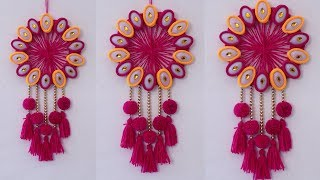 Wall Hanging Out of Waste Disposable Plastic Spoon and Wool !!! DIY Art and Craft Idea