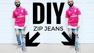 DIY:  ZIPPER JEANS! FEAR OF GOD STYLE
