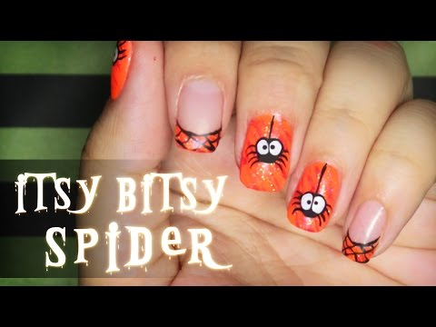 Itsy Bitsy Spider Halloween nail art