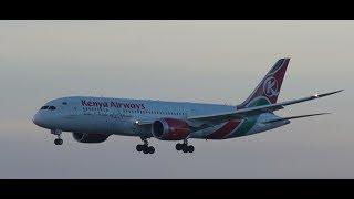 ✈✈Hong Kong International Airport ケニア航空 (Kenya Airways) Boeing 787-8 Dreamliner Landing 香港国際空港