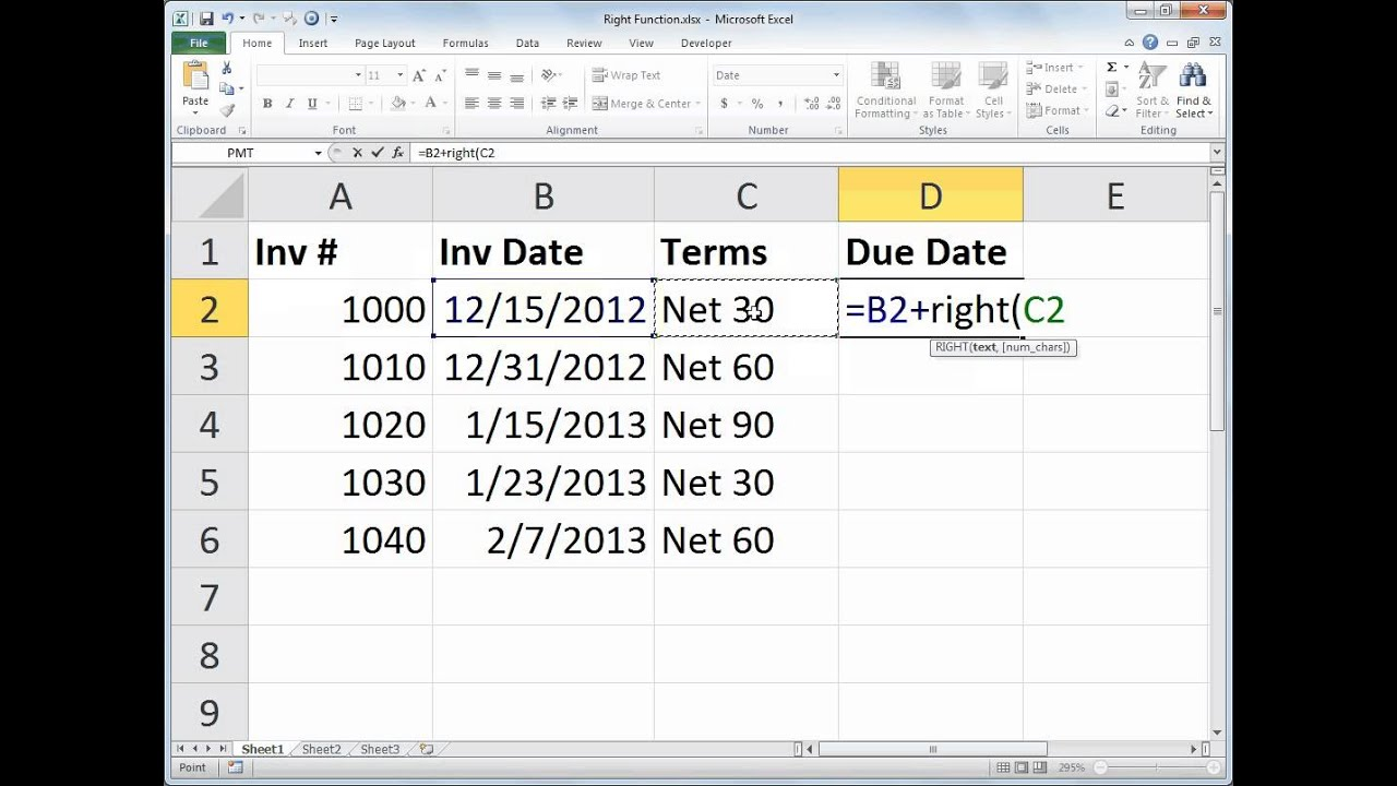 Excel RIGHT Function & Date Math