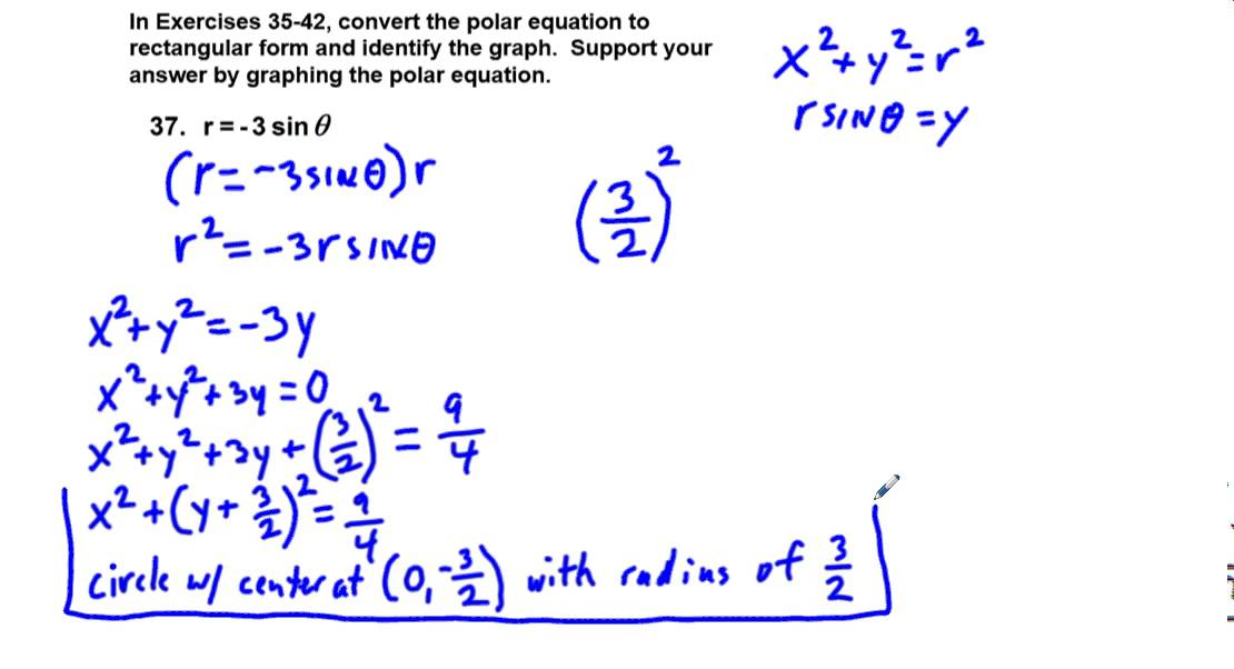 Precalculus Chapter 6.4 Exercises 35-42 Convert Equations from ...