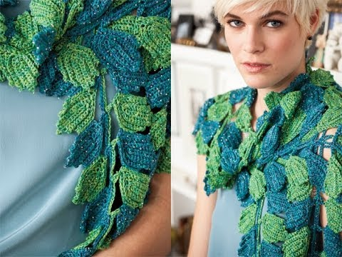 Crochet Scarf Pattern Leaf : #17 Leaf Scarf, Vogue Knitting Crochet 2012 - YouTube