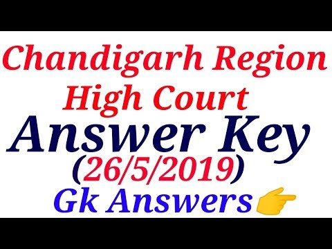 Answer Key of Chandigarh High Court Exam|26 may 2019|GK|Special Education