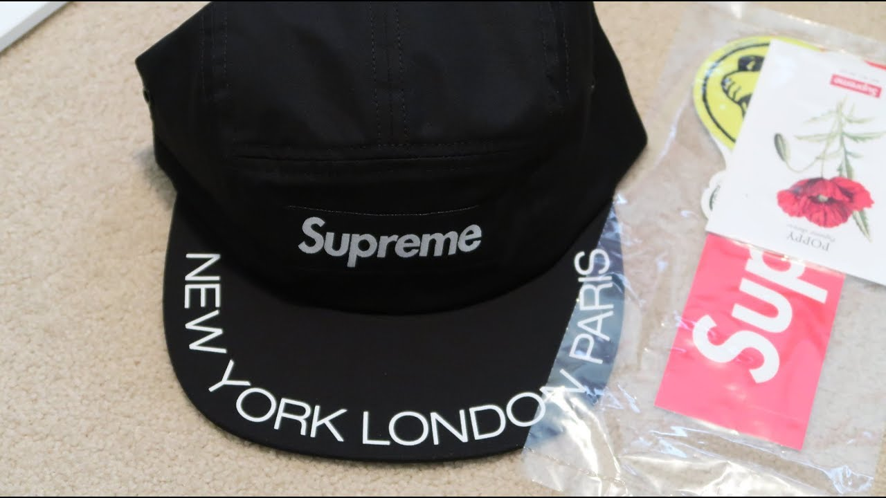 62b89169d1f Supreme SS18 Week 3 Pickup Unboxing  Visor Print Camp Cap  - YouTube