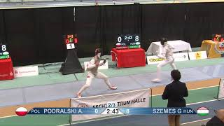 2018 1234 T04 02 M F Individual Halle GER European Cadet Circuit podium PODRALSKI POL vs SZEMES HUN