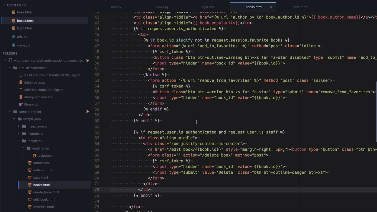 Django Sessions Lesson - Web Development with Django