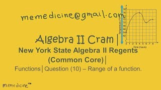 Algebra 2 Cram│ New York State Regents│ Functions│ Question (10) – Range of a Function .