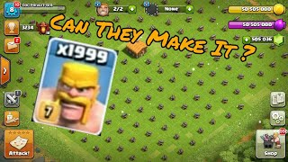 Who will win ? x1999 Barbarians Vs x1000 Cannons | Clash of clans - coc