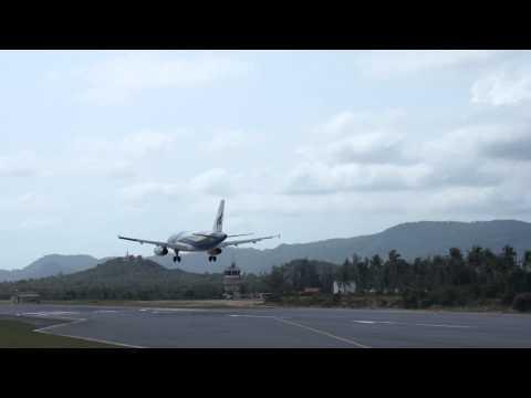 Landing to MOST BEAUTIFUL AIRPORT IN THE WORLD, KOH-SAMUI, Bangkok Airways, Airbus 319