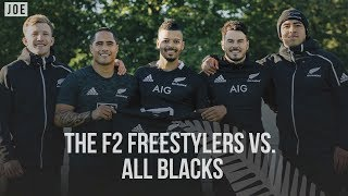 All Blacks vs F2 Freestylers in the ultimate football vs rugby skills showdown