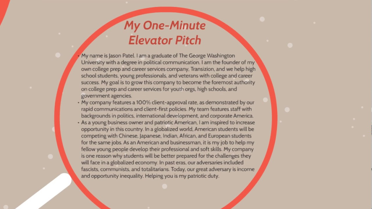 elevator pitch examples for job seekers