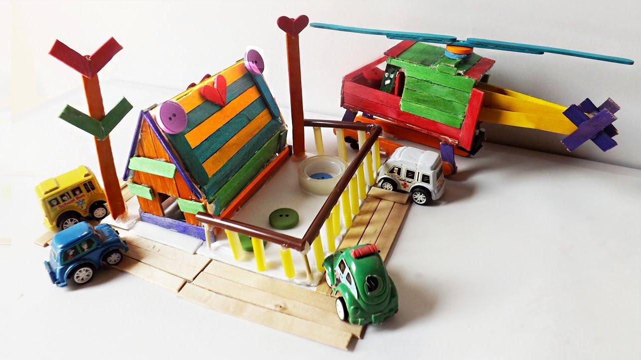 DIY Popsicle stick house | Easy kids crafts videos 2017