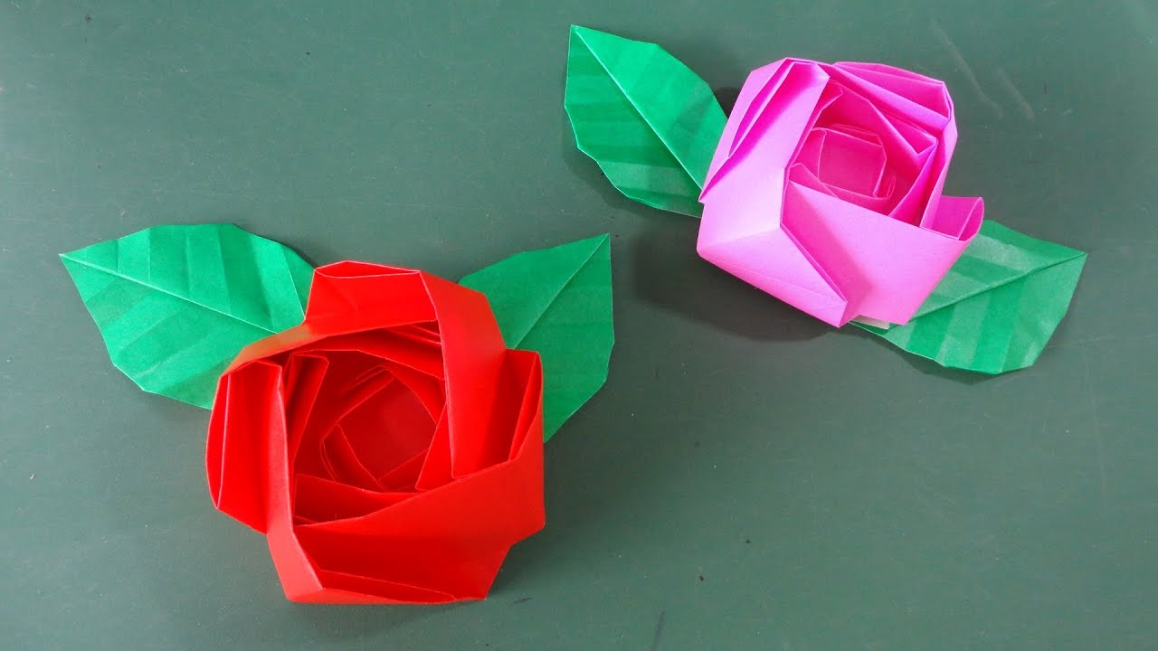 """すべての折り紙 4月の折り紙 : バラ」折り紙""""Rose""""Origami ..."""