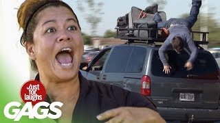 The Most Dangerous Car Stunt - Just For Laughs Gags