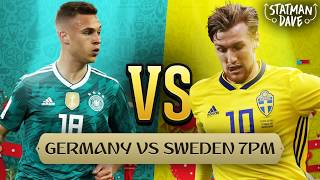 Germany 2-1 Sweden | Goal: TOIVONEN; REUS, KROOS | BOATENG RED CARD | Statman Dave Live