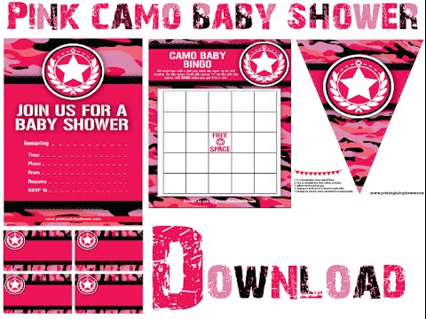 pink camo baby shower decorations games invitations youtube