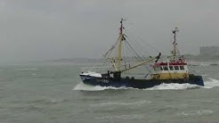 fishing boat leaving the harbour of Oostende