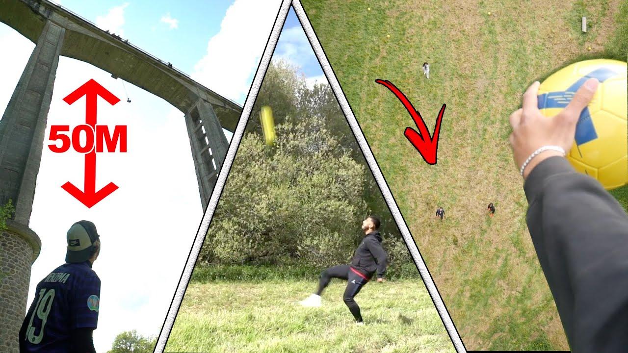 CONTROLER UN BALLON DE FOOT DE 50m ?!!! (Le perdant saute du pont)