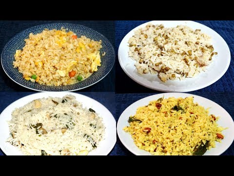 4 Quick And Easy Recipes Indian Under 15 Mins | One Pot Rice Recipes Indian | Easy Rice Recipes