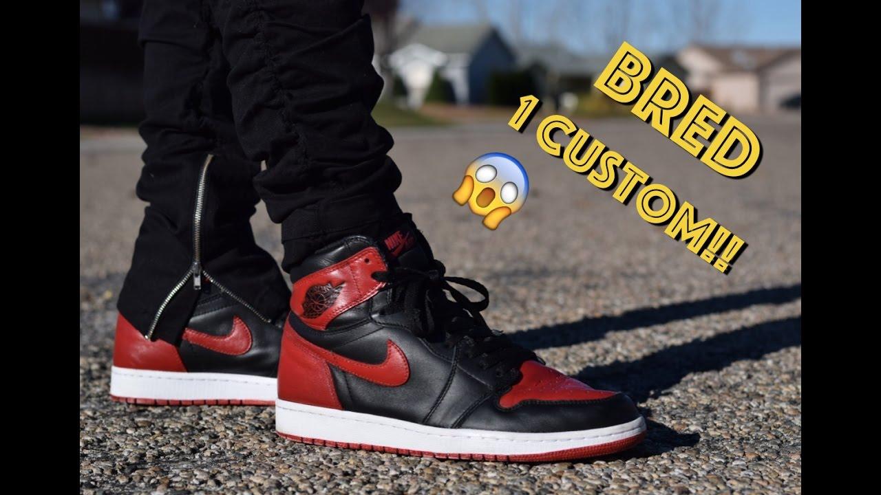 4806898f1b13 Bred Air Jordan 1 Custom (Full Timelapse + On Feet) - YouTube
