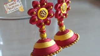 DIY How to make paper quilled jhumka, Red and Yellow Paper quilling jhumka tutorial
