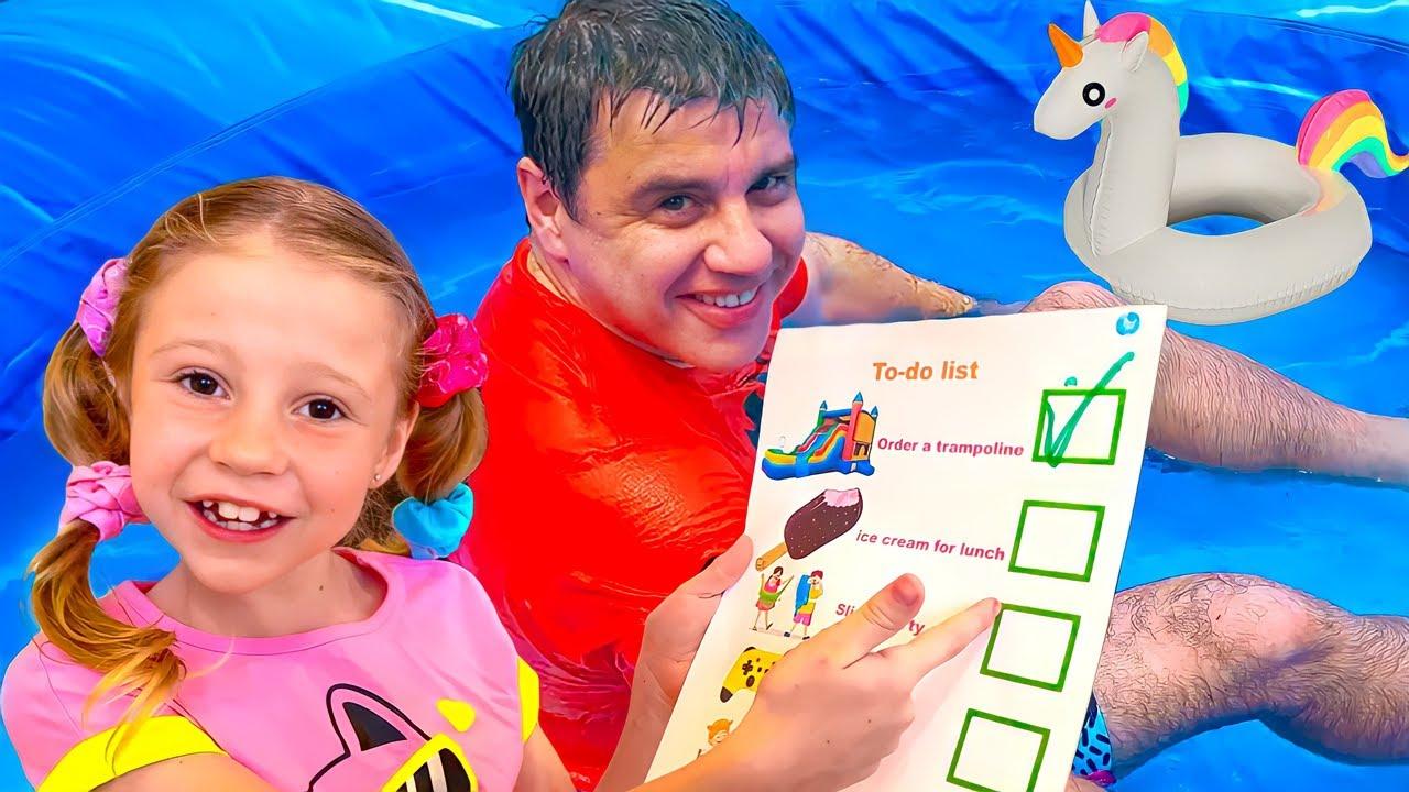 Nastya mudou a lista de tarefas do dia! Um dia cheio de diversão com Nastya