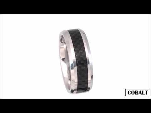 Men's 8mm Cobalt Ring with Black Carbon Fibre