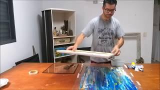 Monotipia -  Dica de pintura abstrato  rápido e moderno, acrílico sobre tela.