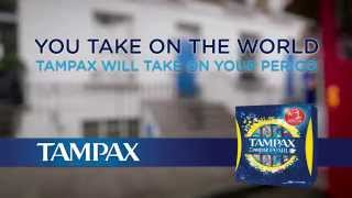 Take on the world. TAMPAX Compak Pearl TAMPONS will take on your pe...