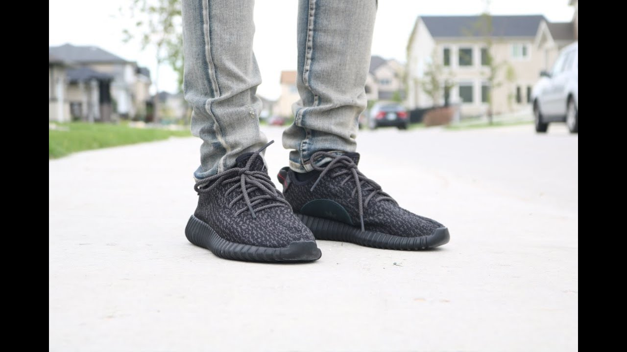 Adidas Yeezy Boost 350 Pirate Black On Feet
