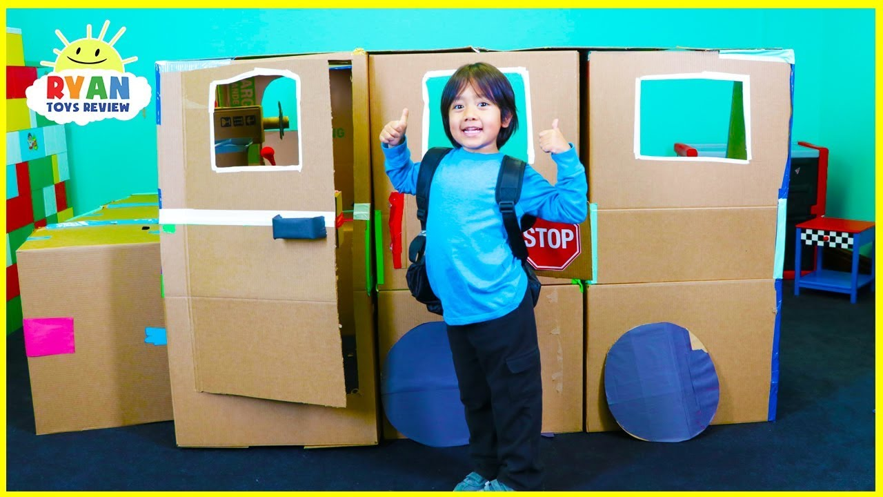 Ryan Pretend Play With School Bus Box Fort Youtube