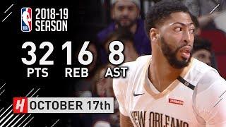 Anthony Davis Full Highlights Pelicans vs Rockets 2018.10.17 - 32 Pts, 16 Reb, 8 Ast, BEAST