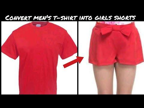 DIY: CONVERT OLD MENS T-SHIRT INTO GIRLS SHORTS  