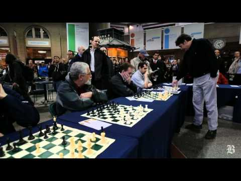 Chess grandmaster at South Station in Boston takes on multiple opponents