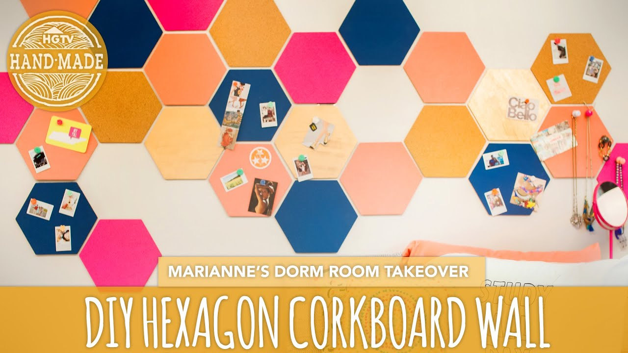 back to school diy: hexagon corkboard dorm decor - hgtv handmade