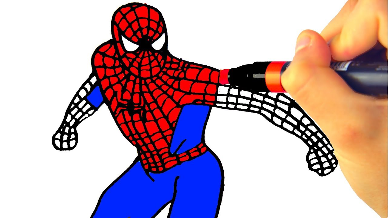 how to draw spiderman learning coloring pages for kids with