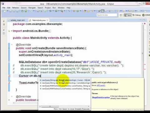 19  Introduction to SQLite Create DB   Table   Insert Data   Retieve Row and Muli Rows