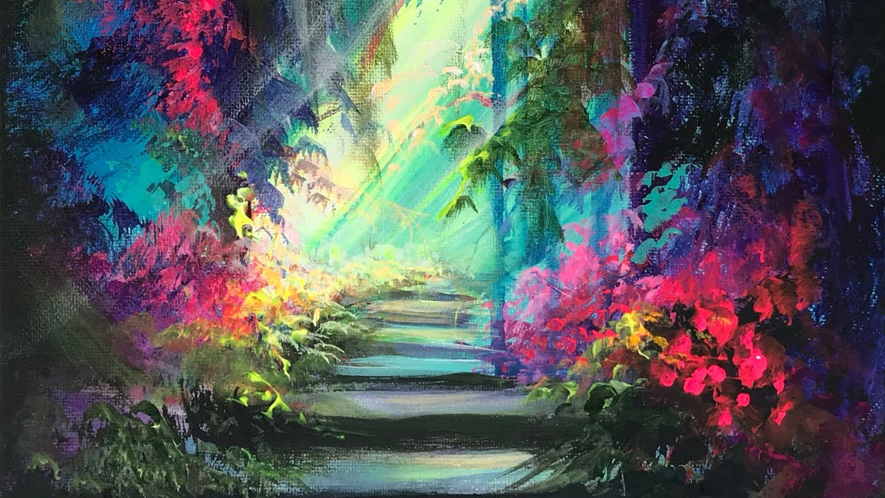 ACRYLIC PAINTING of The Enchanted Garden | Landscape ...