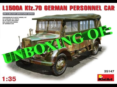 08a286adbc0e28 Unboxing of  MiniArt L1500A  35147 Kfz.70 German Personnel Car 1 35 ...