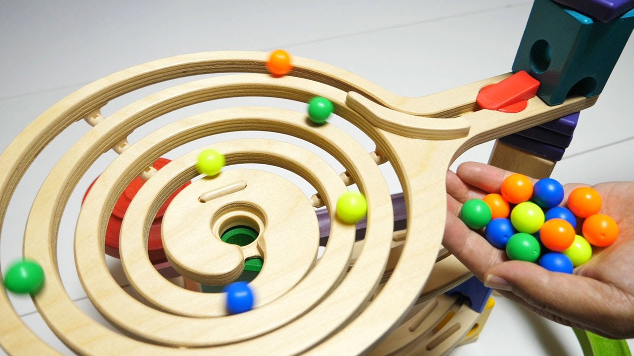 Marble Run Wooden Rolling Course ASMR ★ Colorful Balls